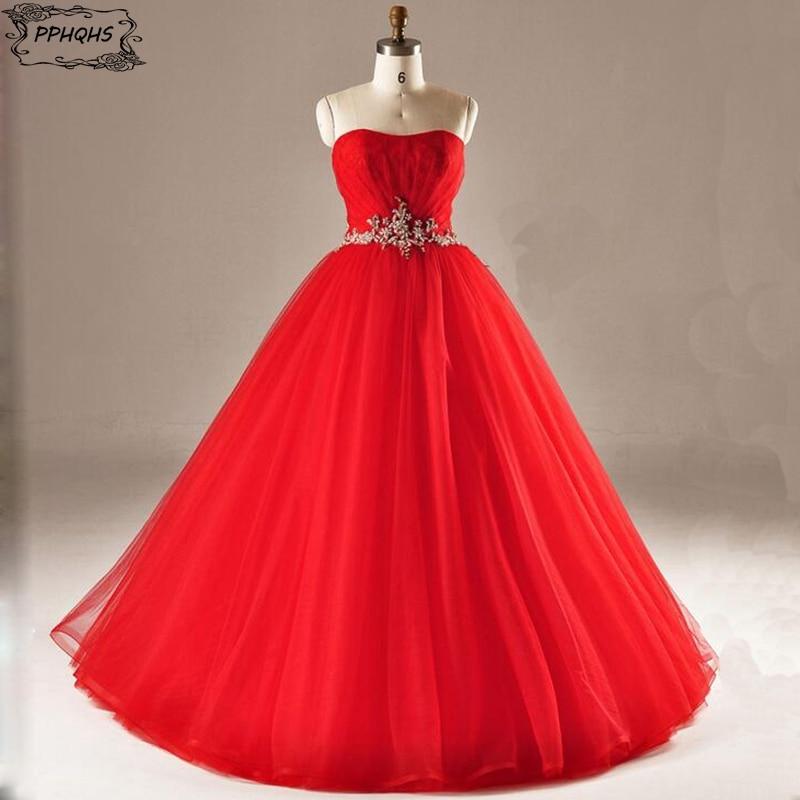 Red Ball gown Wedding Dresses 2017 Romantic puffy Corset Bodice Sweetheart Wedding Gown Vestidos de noiva Robe de mariage