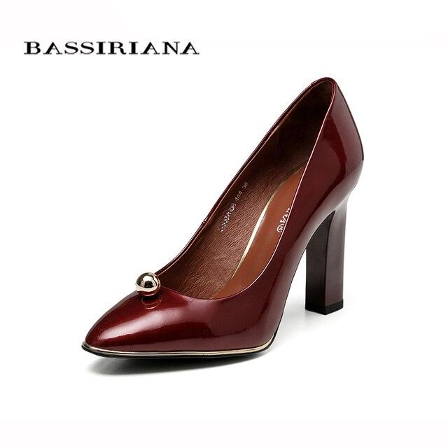 BASSIRIANA 2017 Лакированные туфли женские из натуральной кожи Бордовый Черный Цвета Размеры 35-40 Удобная женская обувь Бесплатная доставка