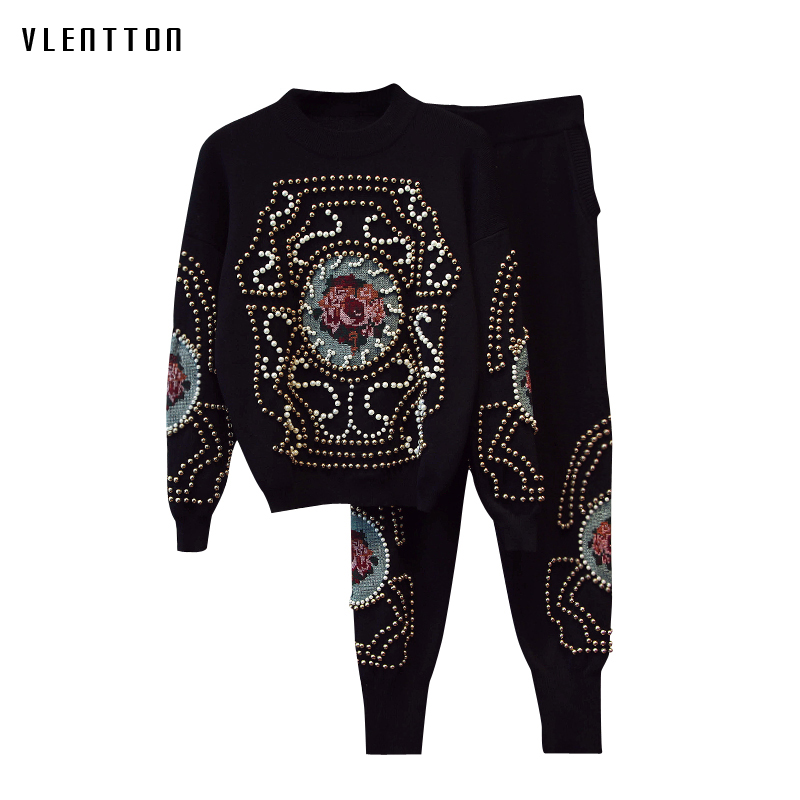 Two piece set 2018 Autumn Winter Beading knitting Top Pants Suit luxurious embroideryTracksuits Long Sleeve Sportswear Outfit in Women 39 s Sets from Women 39 s Clothing