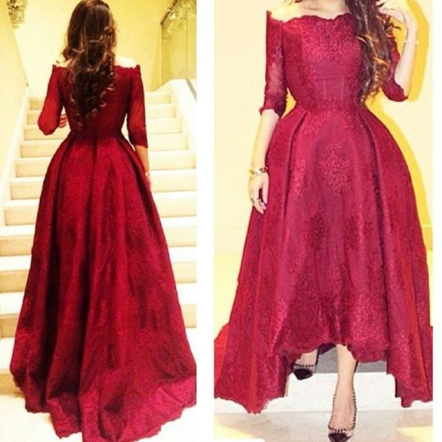 ef6d9f20e5a0 High-low Wine Red Prom Dress 2016 Off Shoulder Half Sleeve Short Front Long  Back Lace Prom Gowns