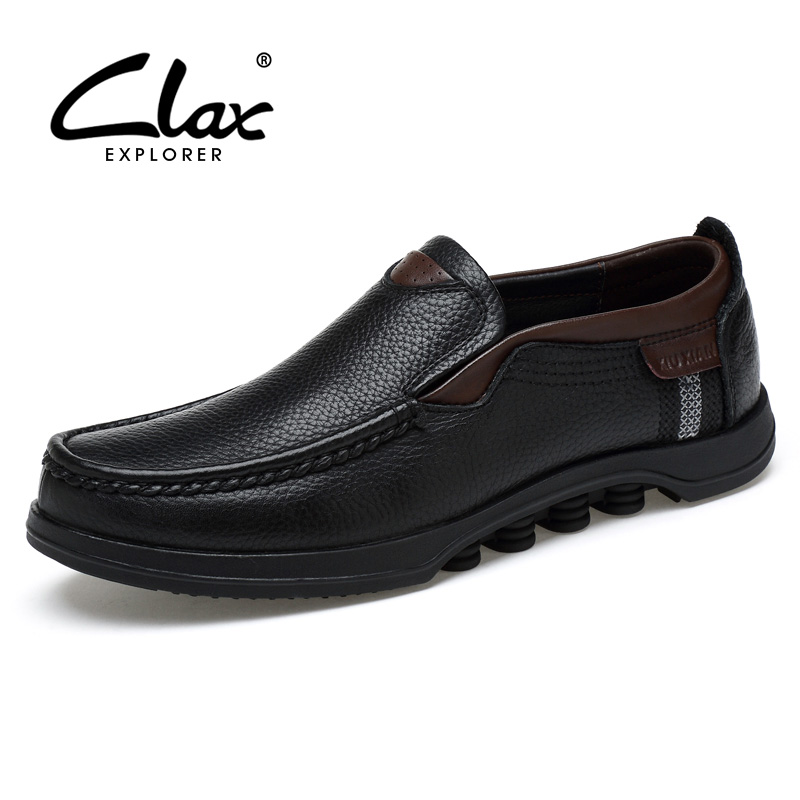 CLAX Men Black Dress Shoes 2018 Autumn Leather Shoes Genuine Leather Bussiness Formal Shoes Wedding Footwear