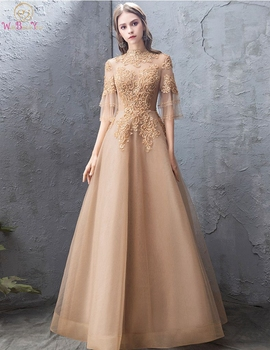 цена на Gold Tulle Evening Dress 2019 Luxury Top Lace Elegant New Design Illusion Sleeves A Line High Neck Floor Length Women Prom Gown