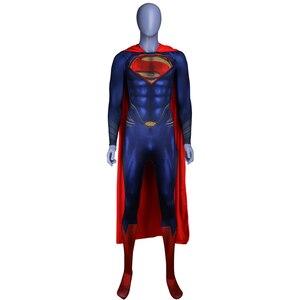 Image 1 - Мужской костюм супермена из стали для мальчиков, костюмы для косплея, колготки, комбинезоны, Костюмы супергероев для Хэллоуина, костюмы Супермена, накидка зентай