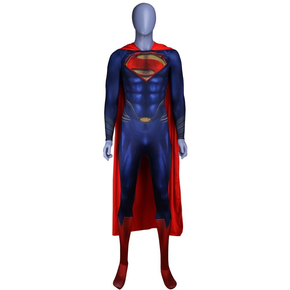 Men Boys Superman Man Of Steel Cosplay Costumes Tights Jumpsuits Superhero Event Halloween Superman Costumes Zentai Suit Cloak