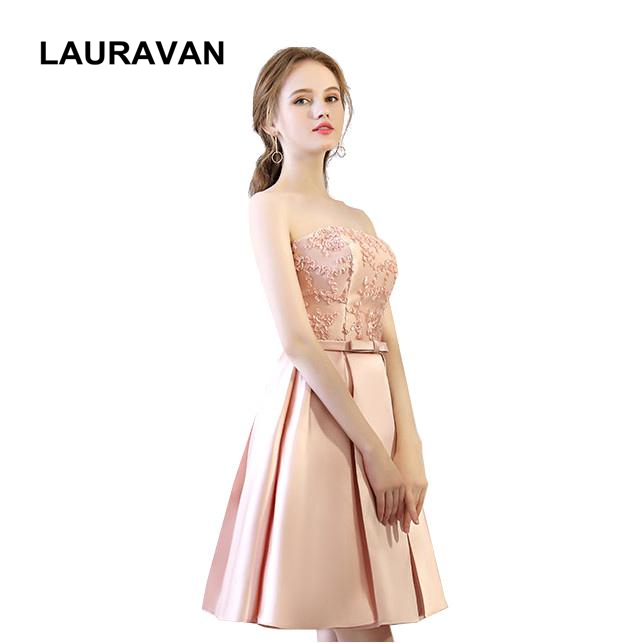 Unique Pink Satin Strapless Ladies Formal Short Bridesmaid Girl Dresses Of Party For Bridesmaids 2019 Robes De Soiree Weddings