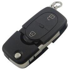 Uncut Клинок Флип Брелок Дистанционного Автомобиль Складной Ключ Чехла для AUDI A2 A3 A4 A6 A8 TT 2 Кнопки Крышка Ключ От Автомобиля с логотип