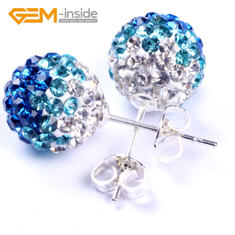 Assorted Colors 10mm Rhinestone Czech Crystal Ball silver plated Ladies stud Earrings Wholesale Girl Gift Beautiful New Fashion
