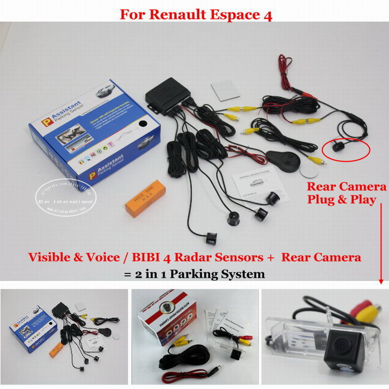 Liislee For Renault Espace 4 - Car Parking Sensors + Rear View Camera = 2 in 1 Visual / BIBI Alarm Parking System car parking sensors rear view camera 2 in 1 visual bibi alarm parking system for subaru forester sj 2012 2015
