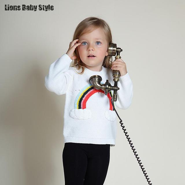 8fc044b06 Ins 3d Rainbow Design Kids Boys Girls Cashmere Sweaters Children ...