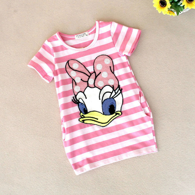 2016 Latest Summer Girls Striped Dress Children Cartoon Donald Duck The Two Sides In My Pocket Dress 2-7 Years