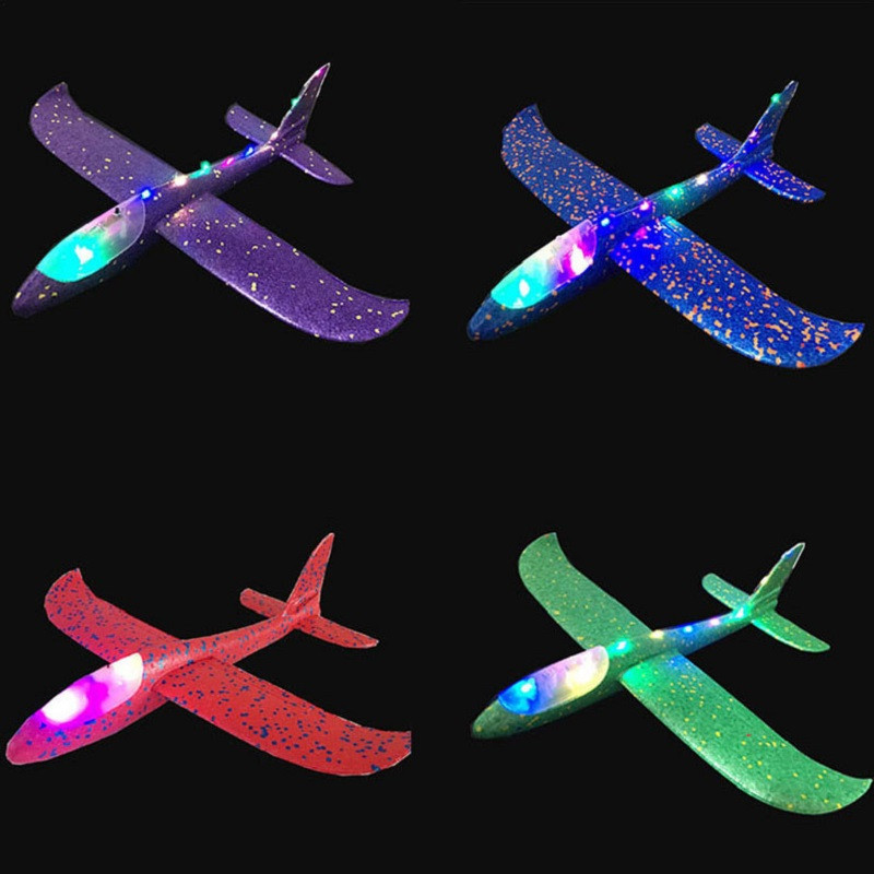 2018 Colorful Flashing Night Lights Foam Aircraft Stunt Luminous Science Education Epp Hand Throwing Airplane Toys For Children