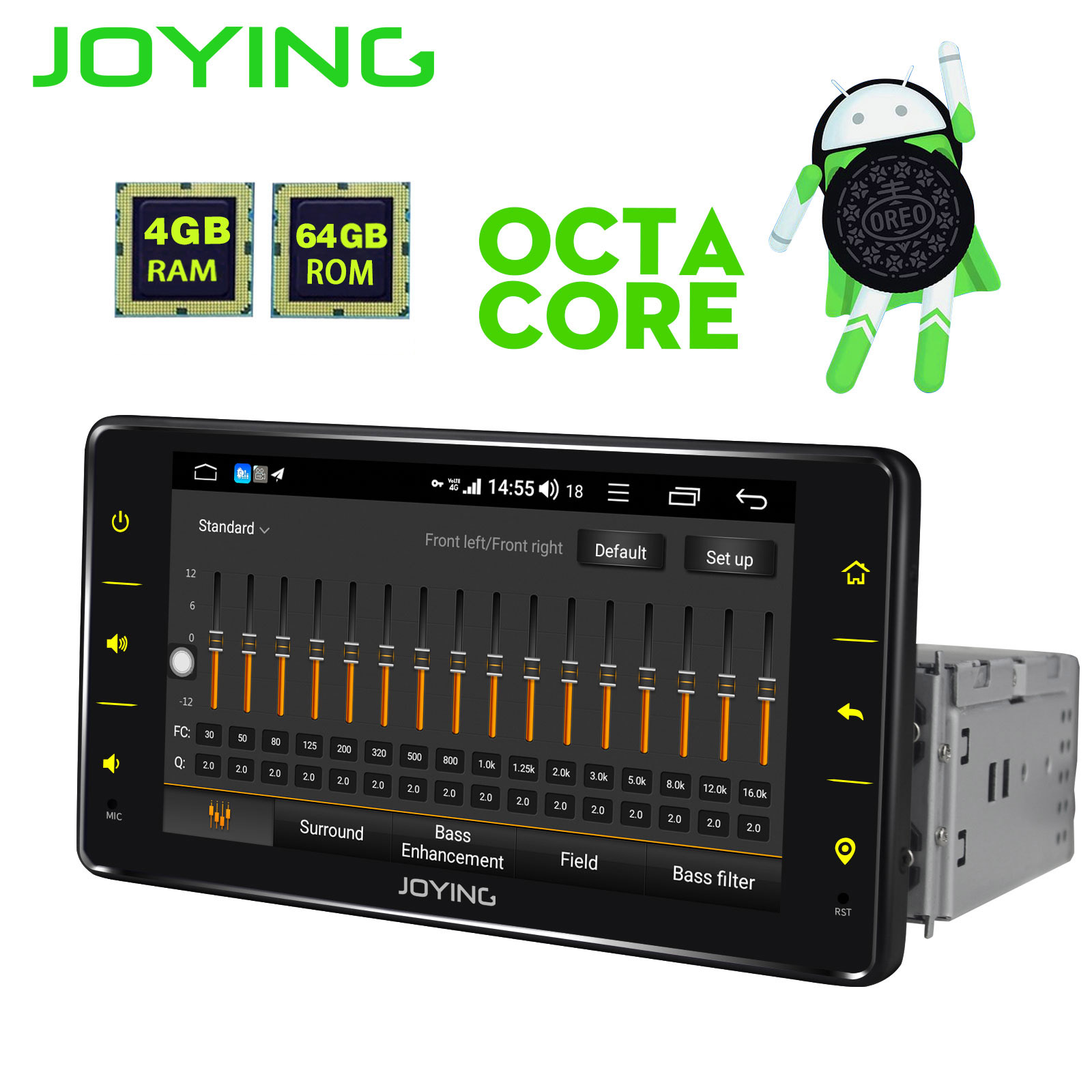 JOYING 1 din 4+64GB Android 8.1 radio cassette player 6.2 stereo GPS Navigation support 4G SWC Universal Car Radio Android auto image