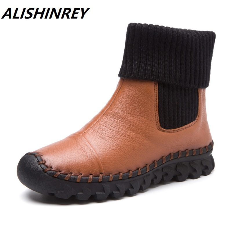 ALISHINREY 2018 Women Winter Ankle Boots Genuine Leather Plus Velvet Flat Boots Comfortable Casual Shoes Women