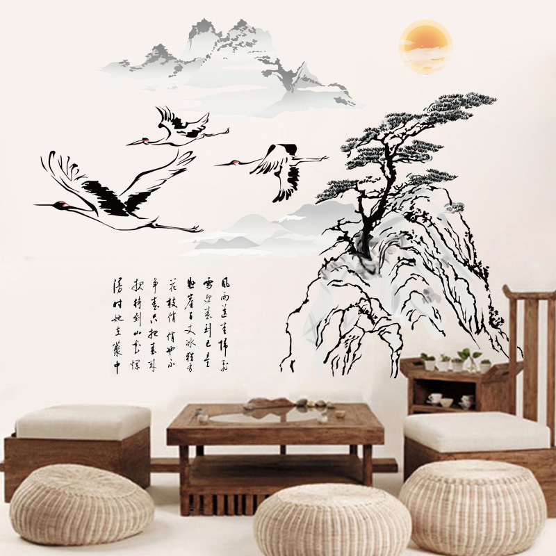 1pc 100 73cm big discount chinese painting crane removable - Cheap wall decals for living room ...