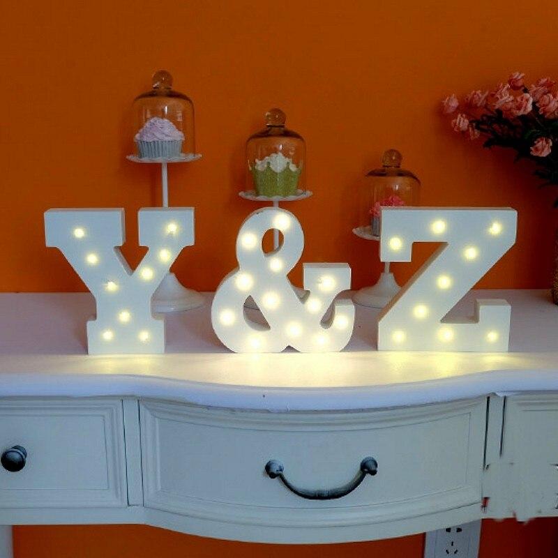 Beyaz ahşap LED gece mektupları letra luminosa düğün kapalı - Gece Lambası - Fotoğraf 2