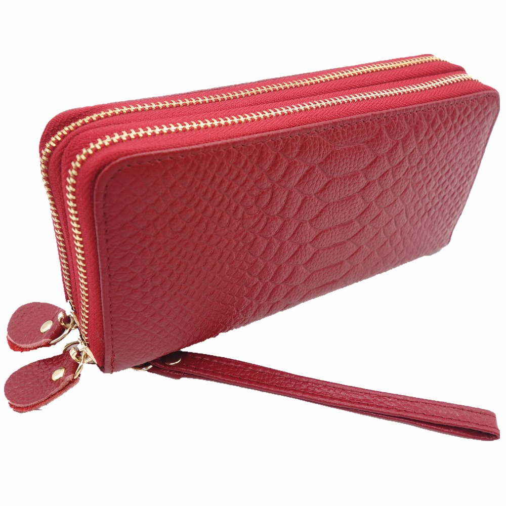 Hot Sell New Thick Purse Fashion Women Double Zipper Wallet Wristlet Bag With Serpentine Genuine Cow leather yuanyu free shipping 2017 hot new real crocodile skin female bag women purse fashion women wallet women clutches women purse