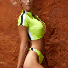 Sexy Neon Green Bikini Women Sport 2019 Short Sleeve Front Zipper Swimwear Swimsuit High Waited Brazilian Bathing Suits