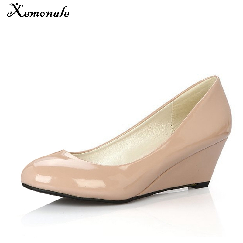 Xemonale 2017 NEW Women Pumps PU Leather Shoes Woman Candy Color Platform Wedges Pointed Toe High Heels For Summer Size 35-39 new women pumps transparent wedges high heels ankle pointed toe high heels pring autumn sexy shoes woman platform pumps