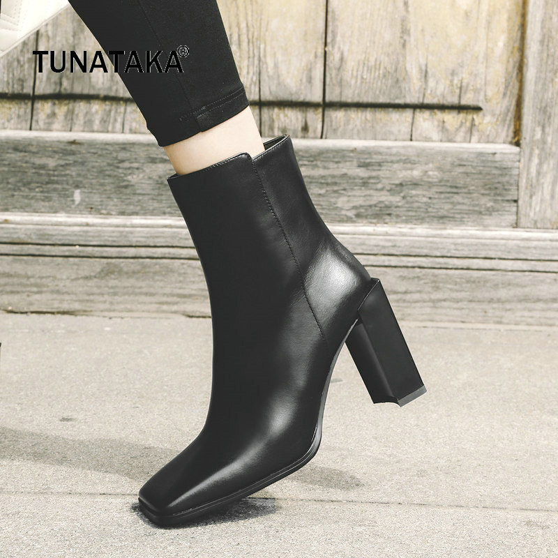 Genuine Leather Thick High Heel Zipper Woman Ankle Boots Fashion Sqaure Toe Dress Boots Ladies Black White new arrival superstar genuine leather chelsea boots women round toe solid thick heel runway model nude zipper mid calf boots l63
