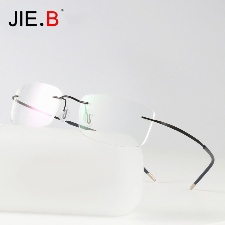 a588e268f2 2019 Titanium Glasses Frame Men Semi Rimless Prescription Eyeglasses ...