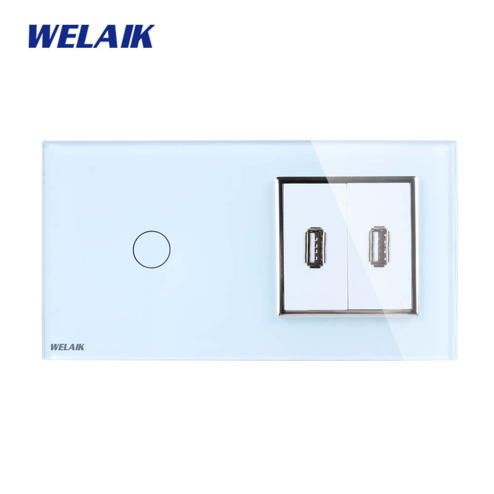 WELAIK Brand 2Frame 1Gang1Way USB socket Crystal Glass Panel Wall Switch EU Touch Switch Screen AC110~250V A291182USCW/B