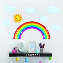 Rainbow Weather Theme Colorful Cartoon Paster Child Nursery Decals PVC Waterproof High Quality Wall Sticker Kids Room Decoration цена