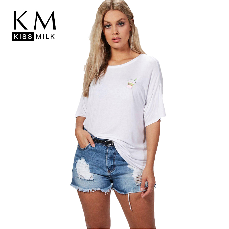 Kissmilk plus size cotton o neck cup embroidery t shirt for Large shirt neck size