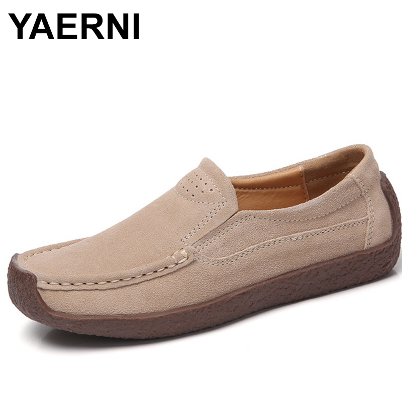 YAERNI Women Split Leather Shoes Woman Lace-up zapatos mujer Suede Leather Lady Moccasins Spring Woman Loafers Shoes