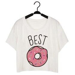 CWLSP Summer Tshirt Women Cropped Top Plus Size Best Friends SistersT-Shirt Donuts Milk Print camisas femininas XS-4XL QA1400 5