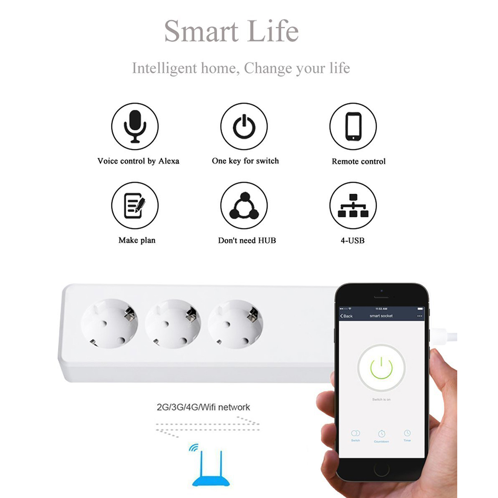 Wifi Wireless Remote Control Smart Power Strip EU Plug Multi-function 3 AC Sockets + 4 USB Charging Ports Working with Alexa smart power board alexa wifi surge protector 4 eu sockets 3 usb port smart sockets with overload switch timer wireless voic