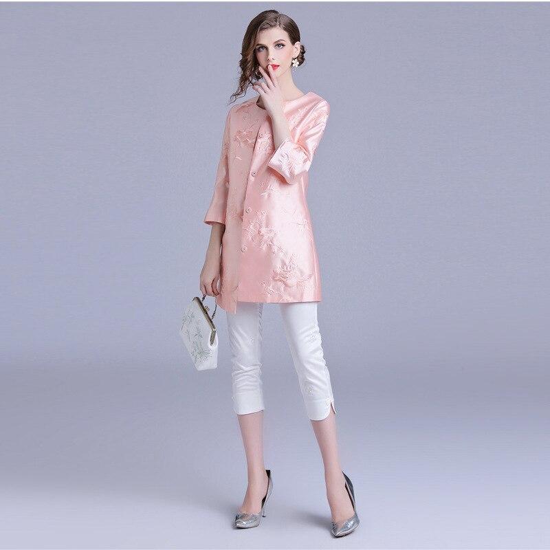 Dames Couvert Taille Trench pink Rouge Bouton Ethniques Automne Rose 2018 Green Vin Élégant Manteau Broderie 3 Xxxl 4 Vert Manches red 4Xdwzqq