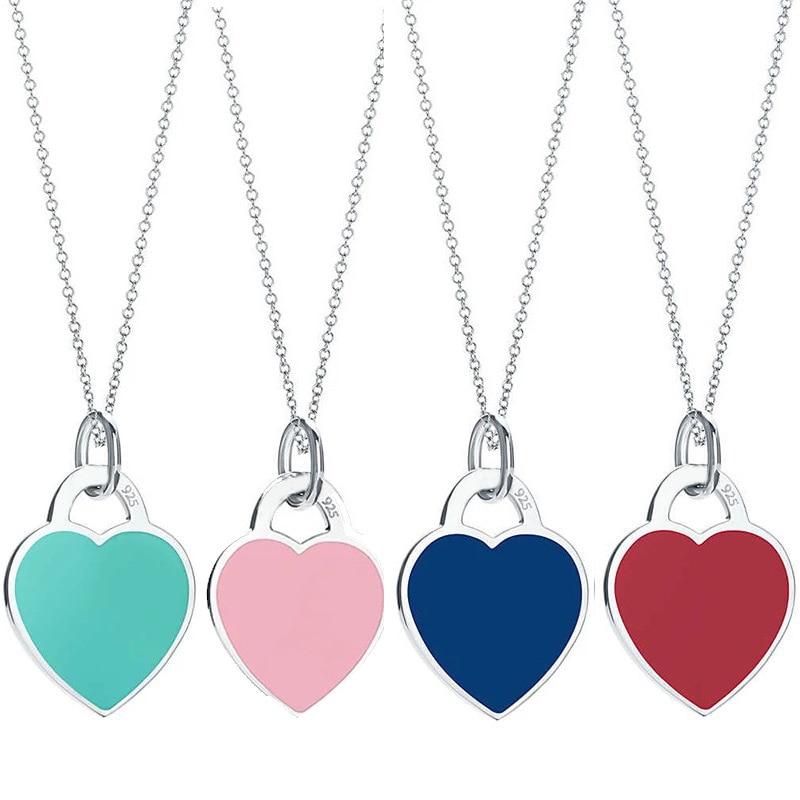 2018 Nouveau 925 En Argent Sterling Coeur Collier & Pendentif Vert et Bleu et Rose et Rouge Marque Tiff Conception Chaîne collier Charme Femmes Jewelr Cadeau