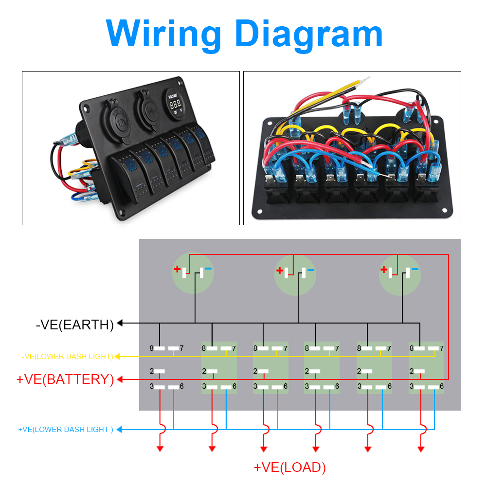 Adpow 6 Gang Boat Rocker Switch Panel Dual Usb Car Charger Voltmeter Wiring Diagram 1 X Digital