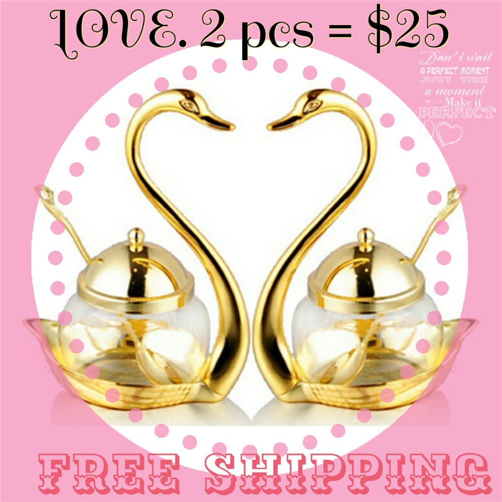Love gift Home Decorations stainless steel swan sugar dish salt and pepper bottle sugar bowl salt&pepper gold 2pcs Free shipping