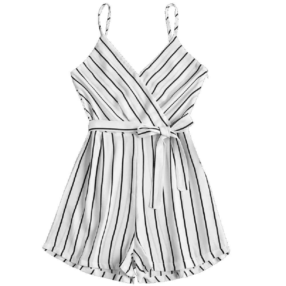 CHAMSGEND   jumpsuit   2018Fashion Womens V-Neck Sleeveless Strappy Holiday Short Playsuits Striped Cami Belt Romper   Jumpsuit   July17
