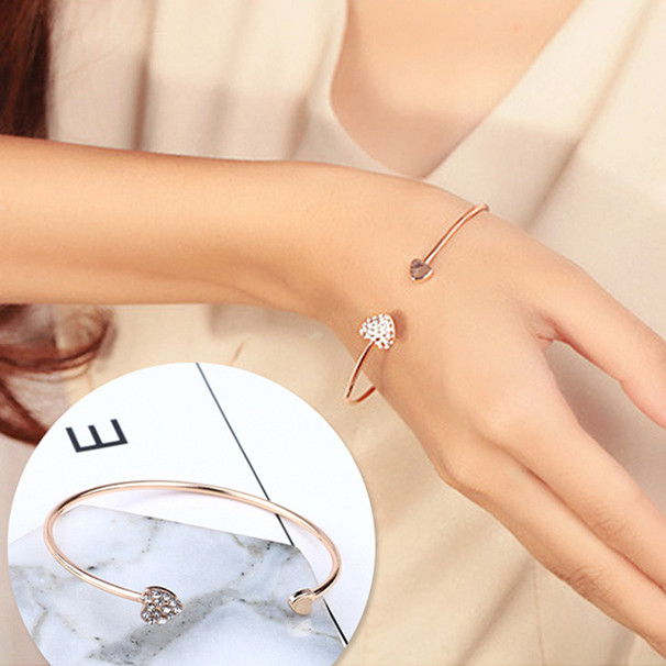 New-Arrival-Romantic-Heart-Design-Women-Crystal-Open-Cuff-Bangles-with-Watch-Accessories-Golden-Plated-Wedding