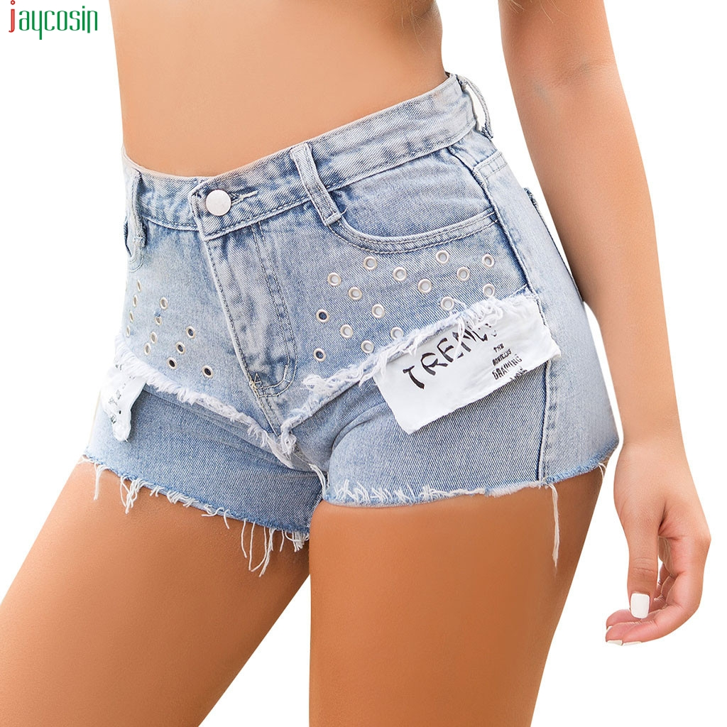 JAYCOSIN 2019   Shorts   Pants Women Denim Jeans Casual High Waist Stretch Straight Drawstring Elastic Trouser Pants female   Shorts