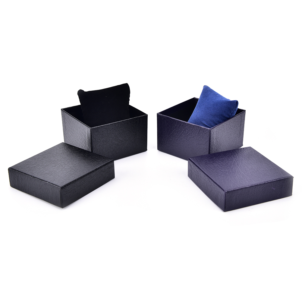 Black Gift Boxes 1pc Pu Leather Watch Gift Boxes Black Blue Paper Watch Packing Boxes With Pillows Inside Without Watch In Jewelry Packaging Display From Jewelry