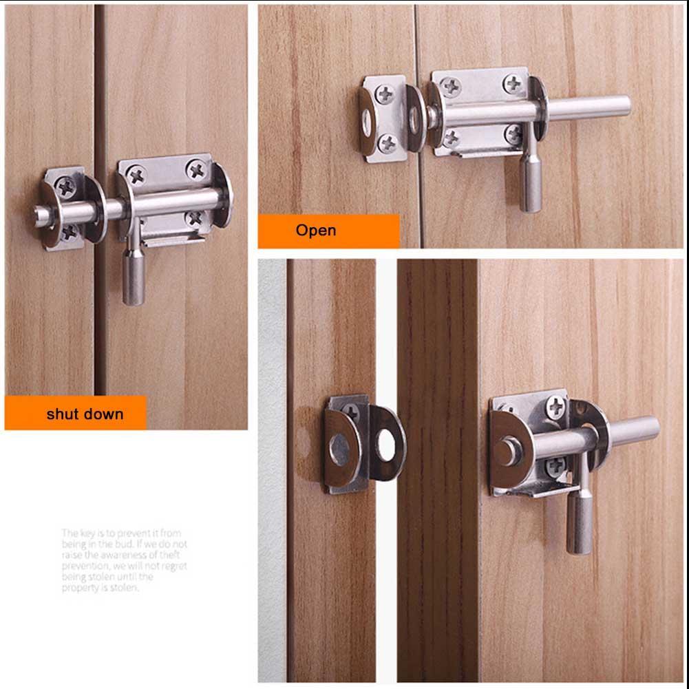 Sliding Bolt Gate Latch Heavy Duty Stainless Steel Barrel Bolt Slide Lock