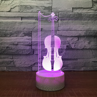 Violin 3D LED Table Desk Lamp USB 7 Color Changing Musical Instruments Night Light Kids Sleep Lighting Gift Home Decor Drop Ship