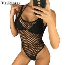 9d1fea45de6 2019 Black White Fish Net Mesh Sexy Women Swimwear One Piece Swimsuit Female  Bather Bathing Suit