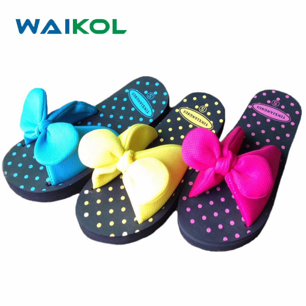 Waikol Sweet Summer Bow Bowtie Butterfly Dot EVA Beach Home Women Flat Slipper Female Sandals Blue Red Yellow Green Size S M L freestyle revolution new red blue women s size large l junior ikat print shorts