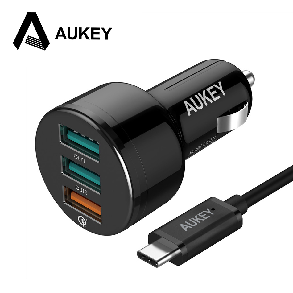 AUKEY For Qualcomm Quick Charger 3.0 Mini USB Cable 3 Ports USB Car Charger for iPhone 7 Plus iPad Samsung HTC QC2.0 Compatible