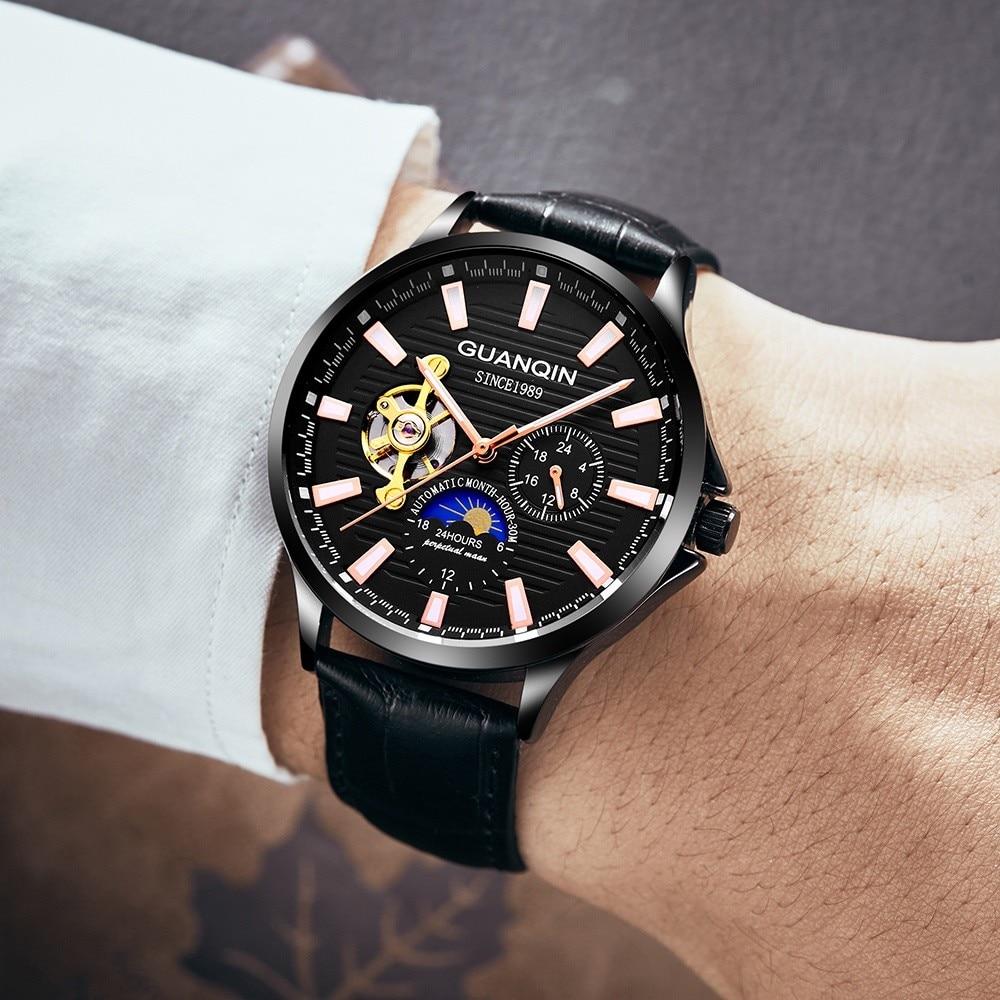 HTB1GN2AvY3nBKNjSZFMq6yUSFXab GUANQIN 2019 new watch men waterproof Automatic Luminous men watches top brand luxury skeleton clock men leather erkek kol saati