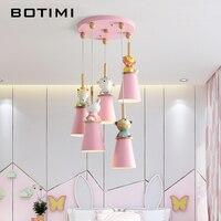 BOTIMI LED Pendant Lights For Kids Room Pink Children Lamp Cartoon Lighting Fixture Girls Room Hanging Luminaire Baby Lustre
