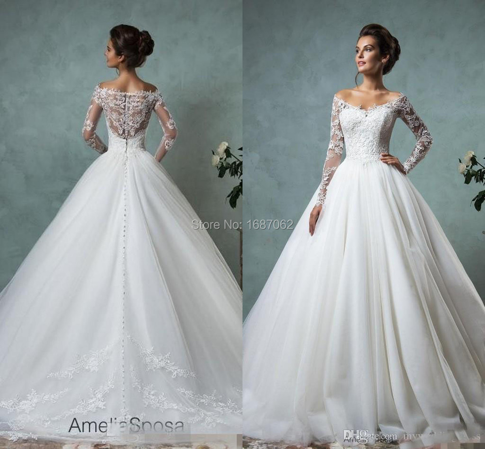Plus Size Lace Wedding Dresses Long Sleeve Fall Winter Bridal Gown ...