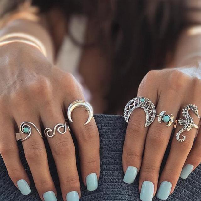 Antique Silver Sea Wave Moon Seahorse Ring Set