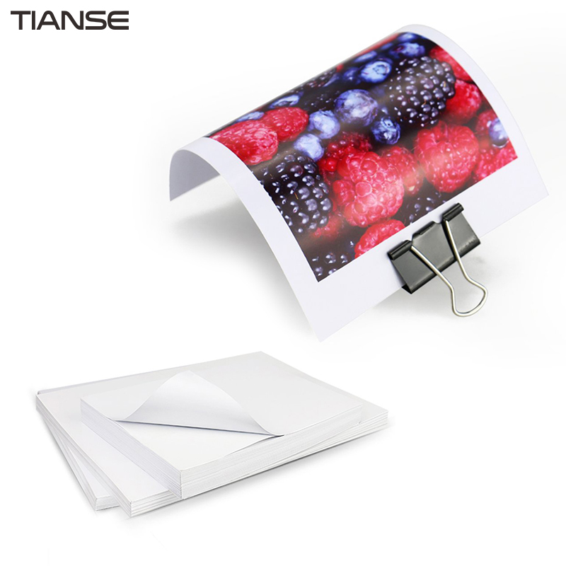 TIANSE High Glossy Photo Paper Backside With Adhesive Dry Quickly Waterproof A4/A5 Photographic Paper Label Sticker 3r 4r 5r 6r a3 a4 high gloss glossy photo paper for inkjet printer photographic quality colorful graphics output album covers