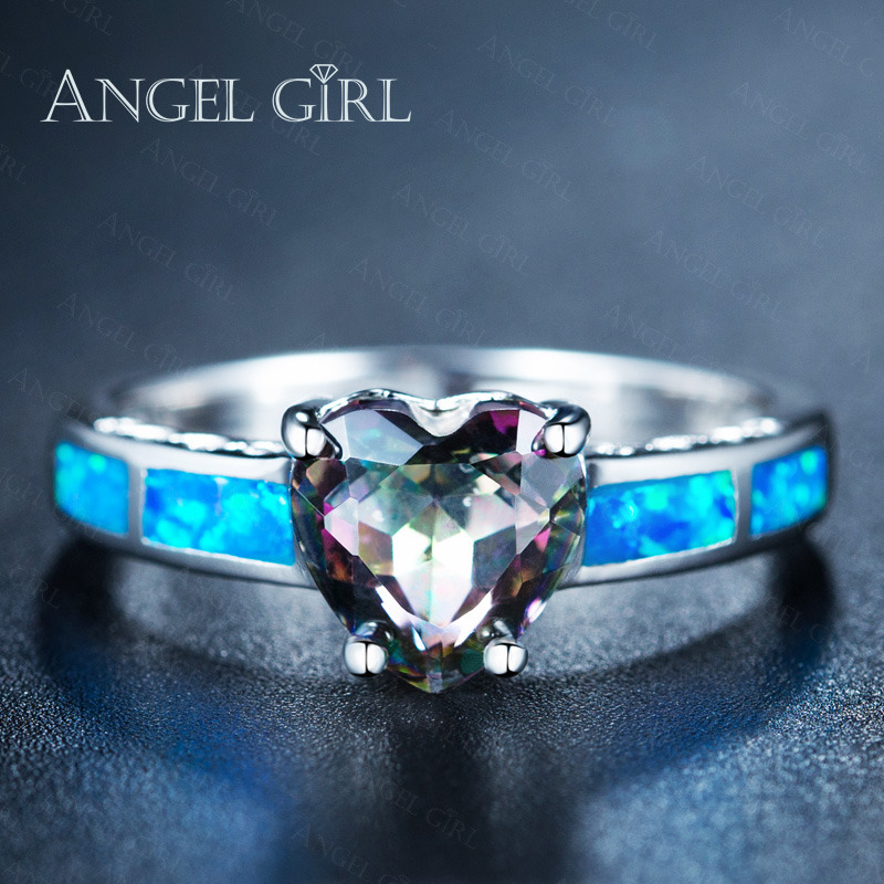 Angel Girl Fine Jewelry High Quality Heart Shape Fire Opal