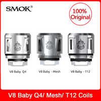 Original SMOK TFV12 Baby Prince-Q4/ Mesh/ T12 Coils For smok V12 Baby Prince/V8 (Big) Baby Tank smok Electronic Cigarette vape
